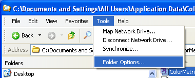 Choose Tools - Folder Options screen shot